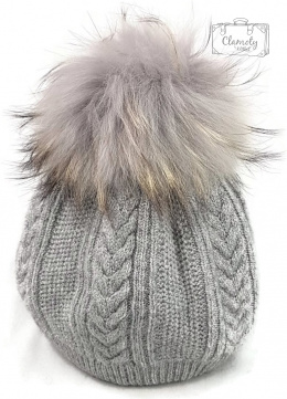 GRAY HAT WITH TASSEL SUPER GIFT